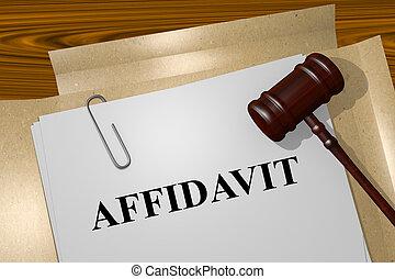 Affidavit concept - Render illustration of Affidavit title...