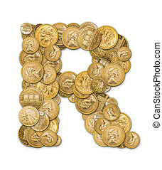 Letter R made from gold coins money isolated on white...