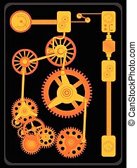 Transmission gears orange flat design, vector illustration...