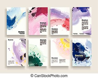 graceful brochure template design set with colorful brush...