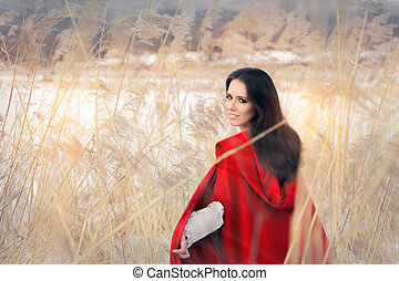 Beautiful Lady in Red Cape in Winte - Portrait of a girl...