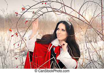 Winter Princess with Rosehip Branch - Portrait of a...