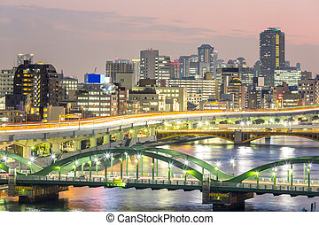 Tokyo skyline - skyline with Highway in Tokyo, Japan at...