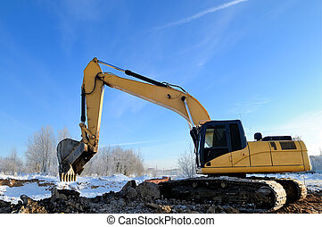 loader excavator machine - Yellow excavator loader at...