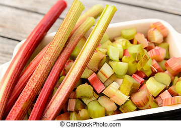 Rhubarb - stalk and pieces of rhubarb