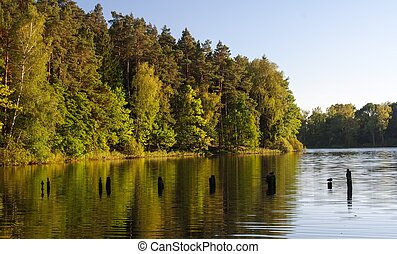 Lake sunset - Peaceful Lake from Mazury Lake district...