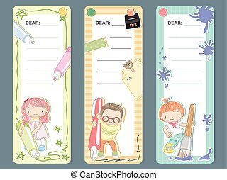 adorable cartoon style memo pad template design set
