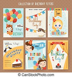 adorable cartoon birthday party invitation template