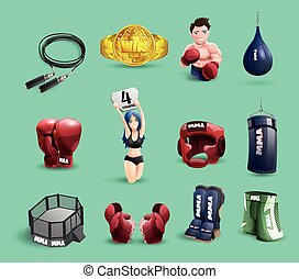 Mma fights 3d icons set - Mixed martial arts mma fighter...