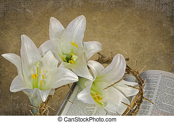 Easter Peace - Lilies and crown of thorns on Holy Bible.