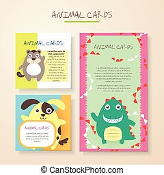 lovely cartoon animal characters cards collections set