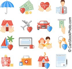 Insurance Icons Set - Insurance icons set with house...
