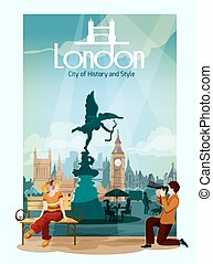 London Poster Illustration - London poster with people and...