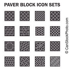 Paver block sets - Paver block and stone icon sets.
