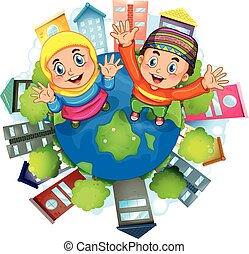 Muslim couple staning on earth illustration