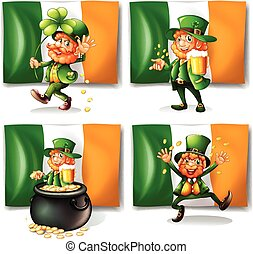 St Patrick day theme with elf and flag