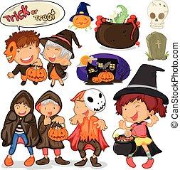 Children dressing up for halloween illustration