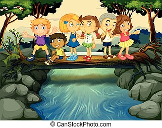 Children having fun by the river illustration