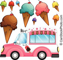 Different flavor ice cream and a truck illustration