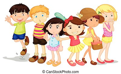 Group of boys and girls  illustration
