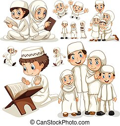 Muslim family in different actions illustration
