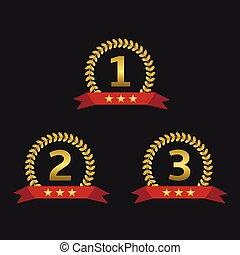 Laurel wreath awards - Golden Laurel wreath awards with red...