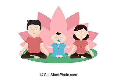 Illustration of a family practicing Yoga together. Flat...