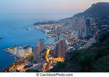 Monte Carlo night city view and sea - Monte Carlo,...