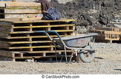 construction, brouette, à, bâtiment, site,