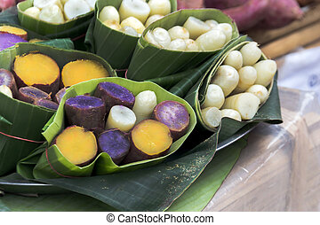 taro and yam in banana leave for eat natural style