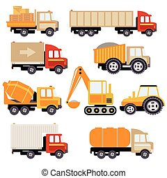 Work Trucks Flat Vector Set - Work Trucks icon set Flat...