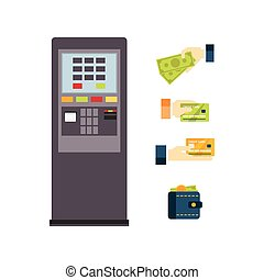 ATM Vector Illustration Set - ATM Vector icon set Flat...