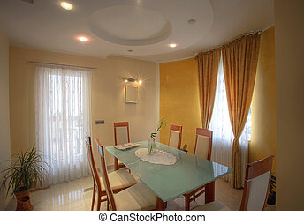 Dining room - Interior of a dining room with furniture,...