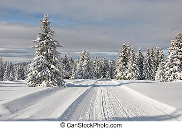 Snowy mountain road - Ski slope and snowy road through...
