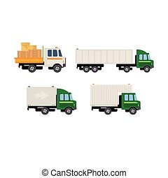 Work Trucks Vector Set