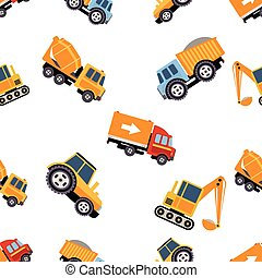 Work Trucks Seamless Pattern Vector Illustration - Work...