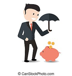 Businessman  holding an umbrella.