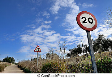 road signs - landscape with road with two road signs