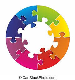arranged puzzle pieces - puzzle pieces arranged as a circle...