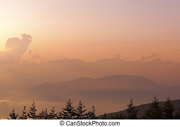 sunset haze - scenic sunset haze in Japanese mountains