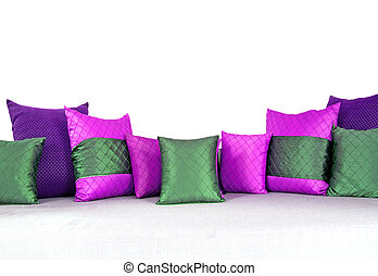 colorful pillows scattered on the table. - colorful pillows...