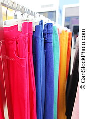 Colorful Trousers - Closed Up Hanging Colorful Trousers