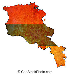 armenia territory with flag - map with flag of armenia with...