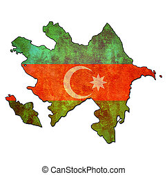 azerbaijan territory with flag - map with flag of azerbaijan...