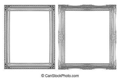 Picture Frames Silver black isolated on white background