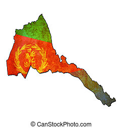 eritrea territory with flag - map with flag of eritrea with...