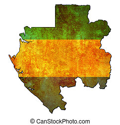 gabon territory with flag - map with flag of gabon with...