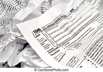 Crumpled 1040 income tax form
