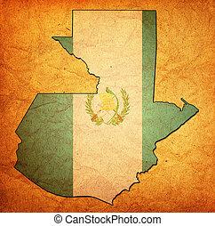 guatemala, territorio, con, bandera,