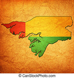 guinea bissau territory with flag - map with flag of guinea...